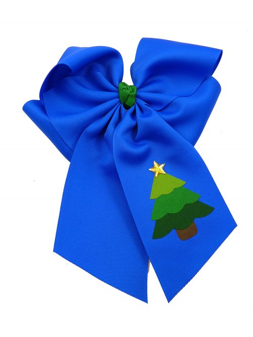 electric blue star hair bow hairbow festive tree Christmas Xmas winter holiday