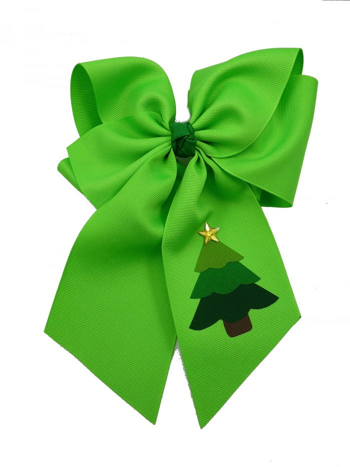neon green star hair bow hairbow festive tree Christmas Xmas winter holiday