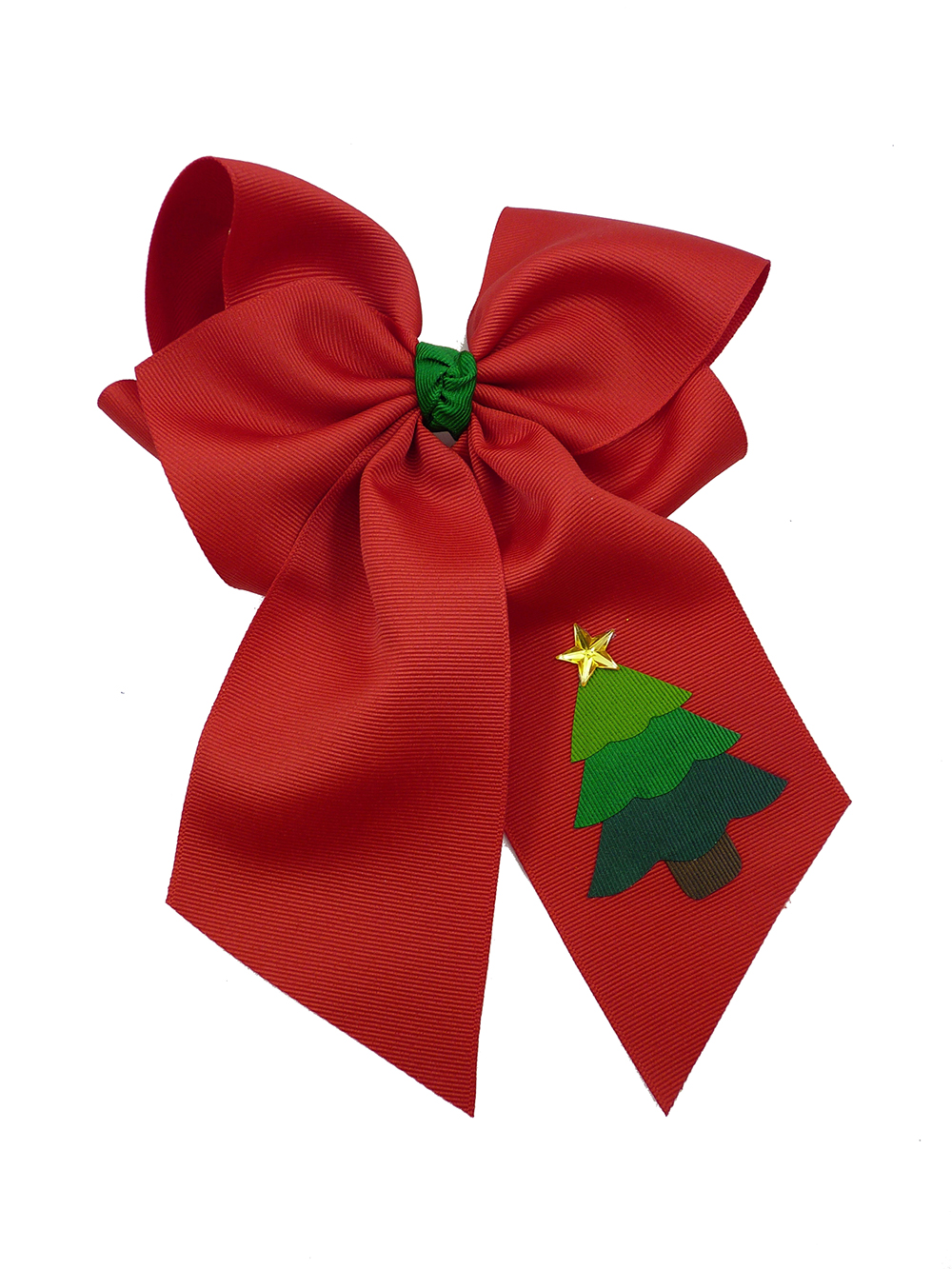 red star hair bow hairbow festive tree Christmas Xmas winter holiday
