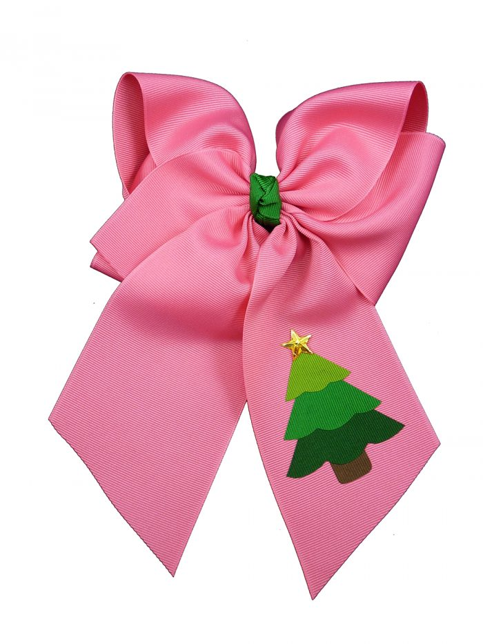 hot pink star hair bow hairbow festive tree Christmas Xmas winter holiday
