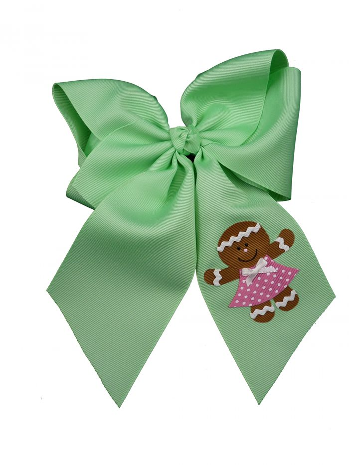 xmas Christmas gingerbread girl hair bow hairbow pink holiday festive mint