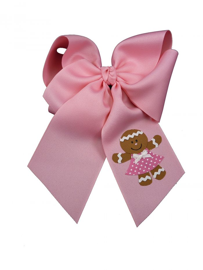 xmas Christmas gingerbread girl hair bow hairbow pink holiday festive