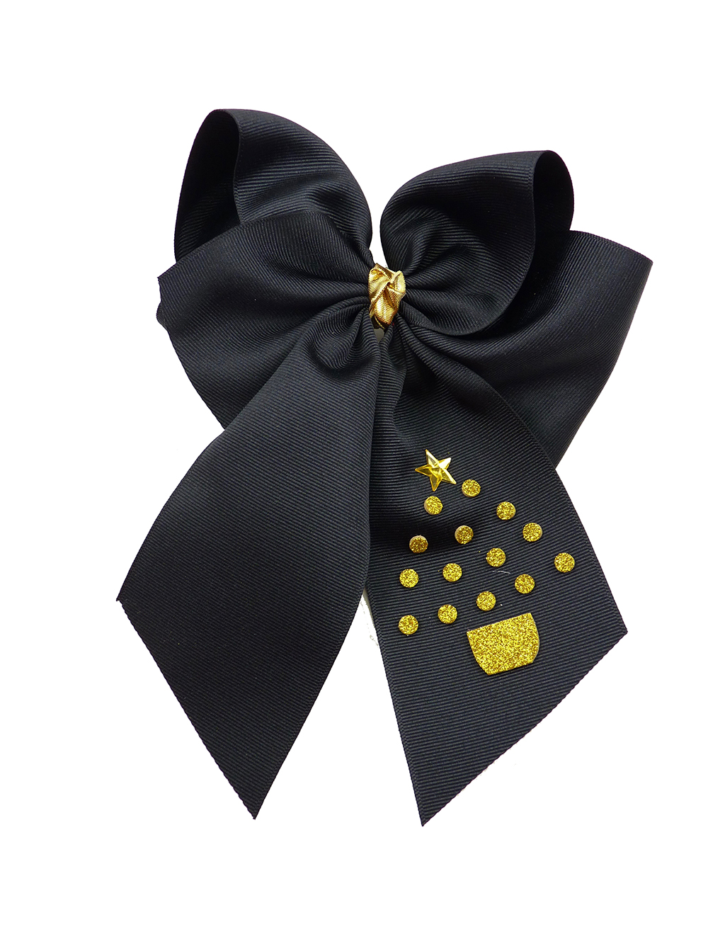 black hair bow hairbow gold glitter festive tree Christmas Xmas winter holiday