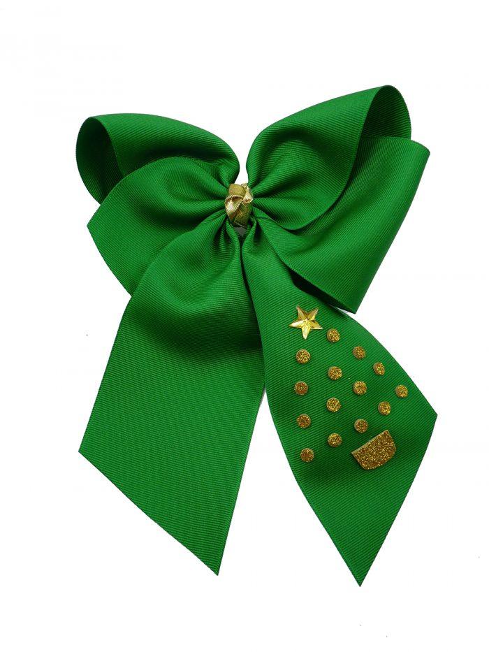 green hair bow hairbow gold glitter festive tree Christmas Xmas winter holiday