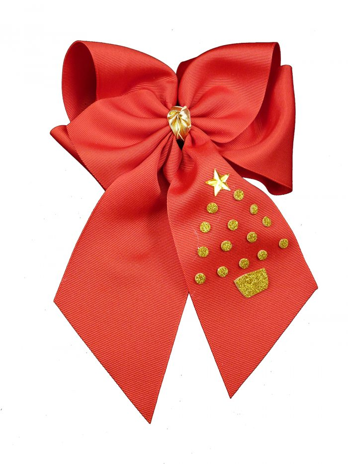 red hair bow hairbow gold glitter festive tree Christmas Xmas winter holiday