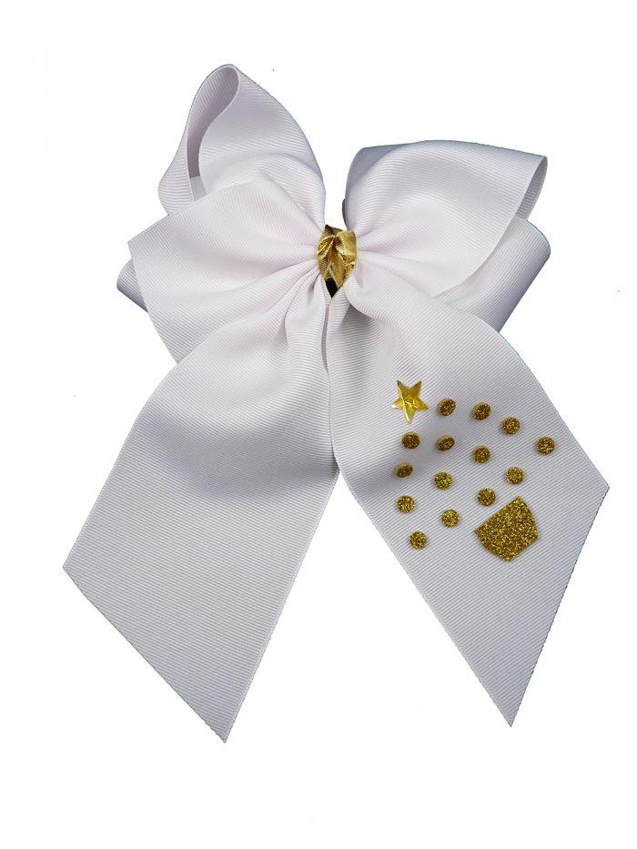 white hair bow hairbow gold glitter festive tree Christmas Xmas winter holiday