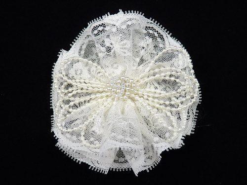 lace pearl clip clippie white