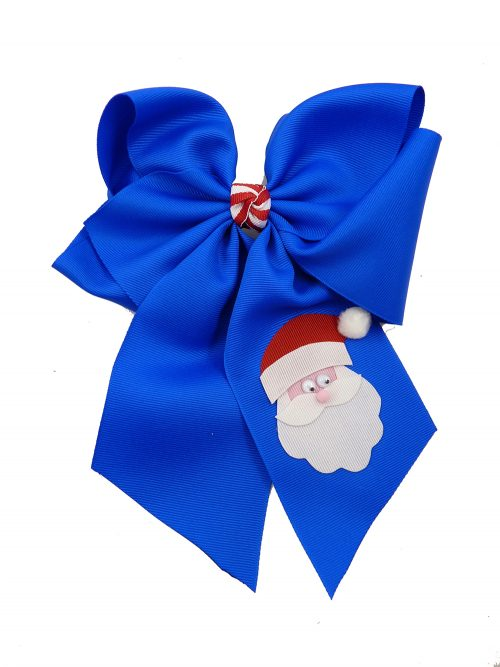 hairbow hair bow Santa Claus Christmas Xmas electric blue