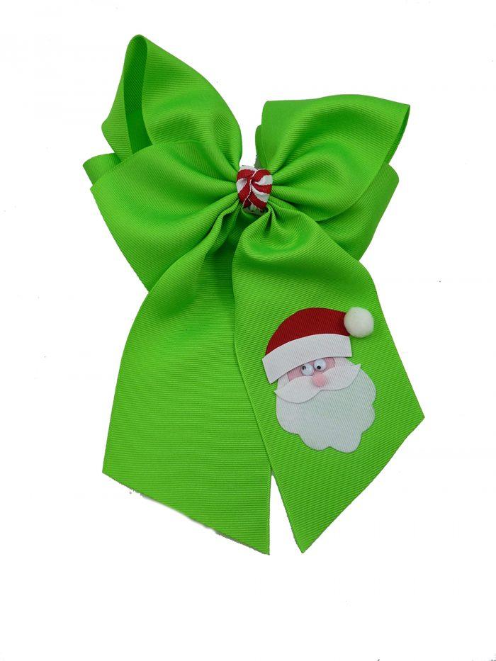 hairbow hair bow Santa Claus Christmas Xmas neon green
