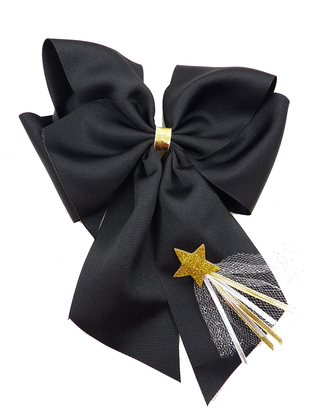 New Year's Day hair bow hairbow ribbon star tulle gold silver festive holiday black