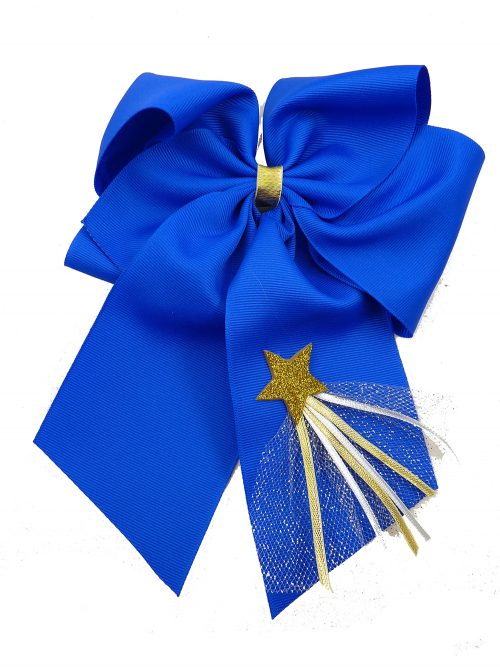 New Year's Day hair bow hairbow ribbon star tulle gold silver festive holiday electric blue