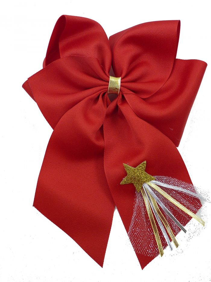 New Year's Day hair bow hairbow ribbon star tulle gold silver festive holiday red