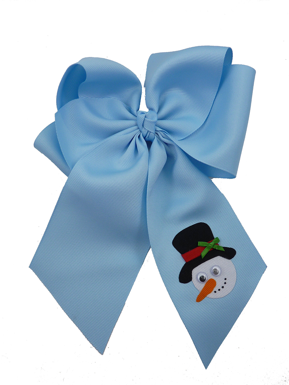 Frosty blue winter top hat hairbow hair bow snowman Christmas Xmas carrot