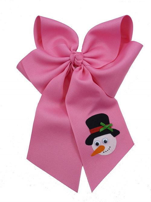 Frosty hot pink winter top hat hairbow hair bow snowman Christmas Xmas carrot
