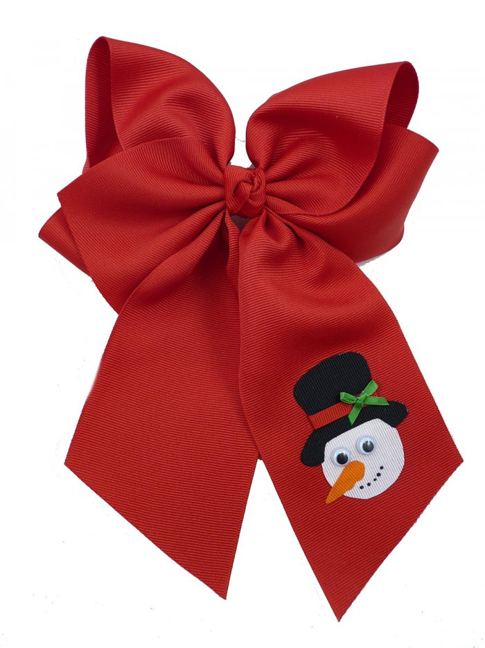 Frosty red winter top hat hairbow hair bow snowman Christmas Xmas carrot