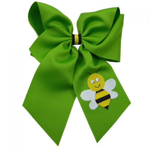 apple green yellow black white google eye hair bow hairbow stripe bumble bee spring grosgrain fluff girls child toddler