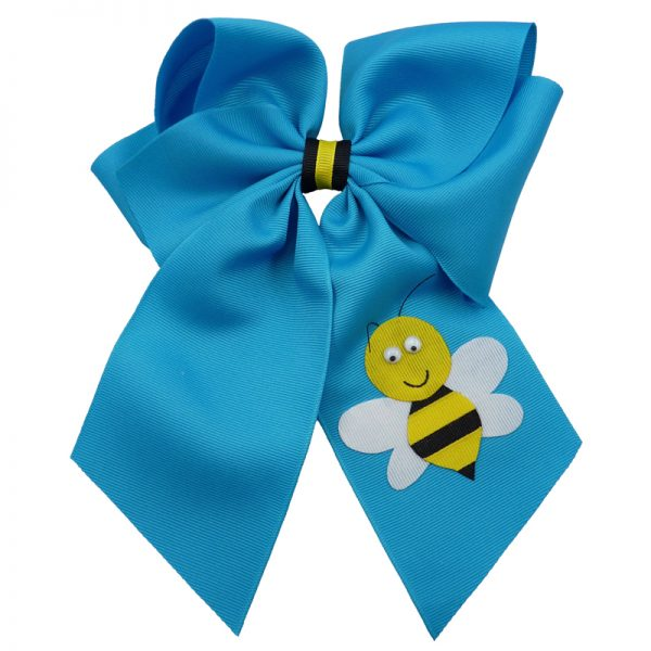 turquoise yellow black white google eye hair bow hairbow stripe bumble bee spring grosgrain fluff girls child toddler