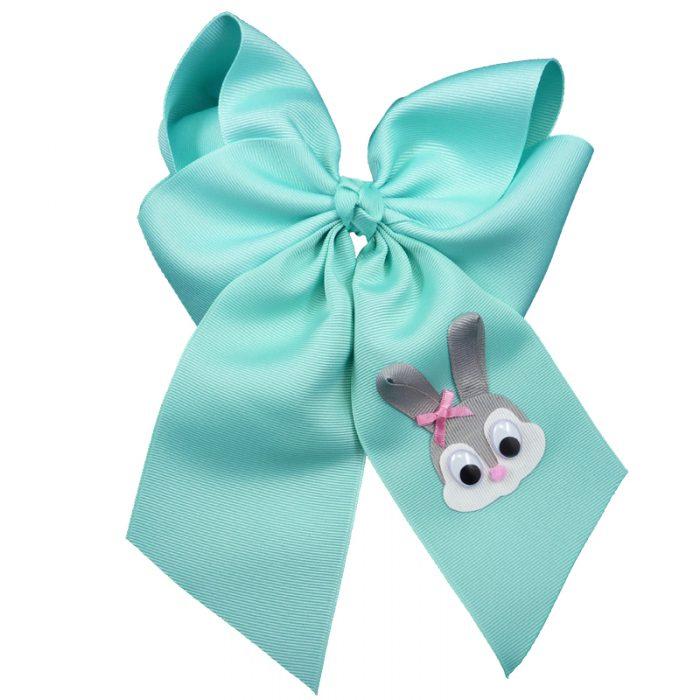 Aqua grey gray pink white google eye hair bow hairbow spring grosgrain fluff girls child toddler bunny rabbit Easter