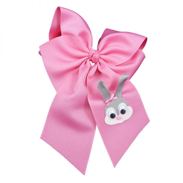 Hot pink grey gray pink white google eye hair bow hairbow spring grosgrain fluff girls child toddler bunny rabbit Easter