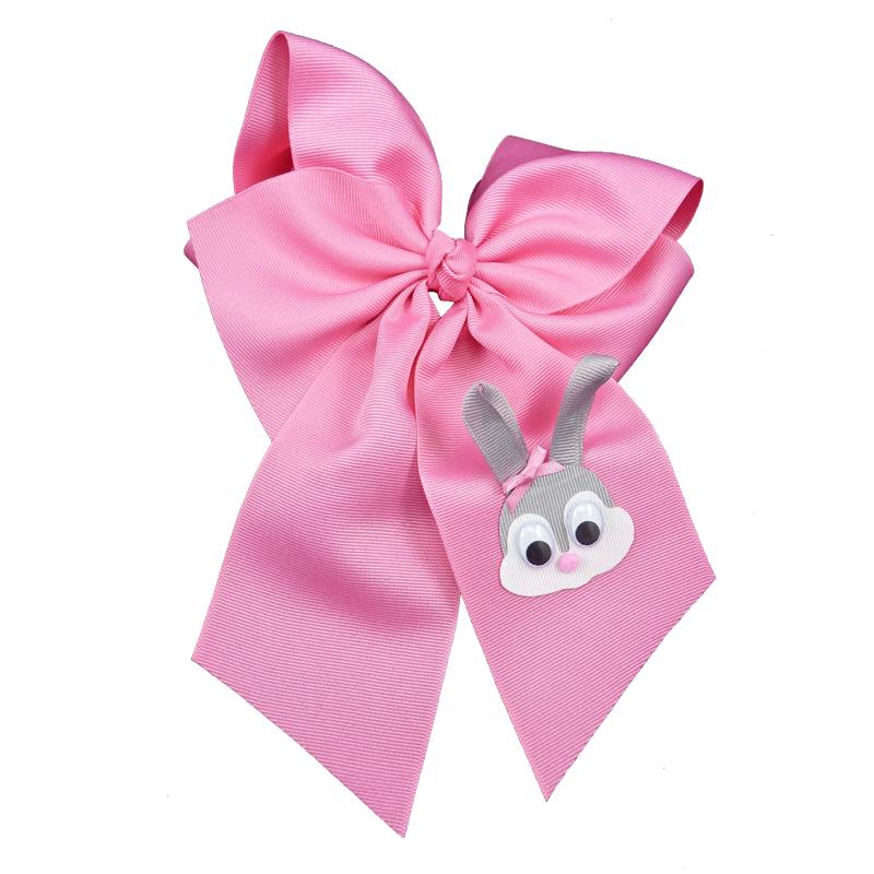 Hot pink grey gray pink white google eye hair bow hairbow spring grosgrain fluff girls child toddler bunny rabbit Easter