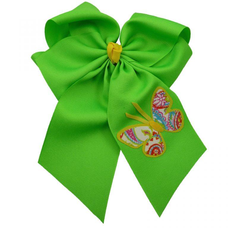 Yellow green hair bow hairbow spring grosgrain fluff girls child toddler butterfly