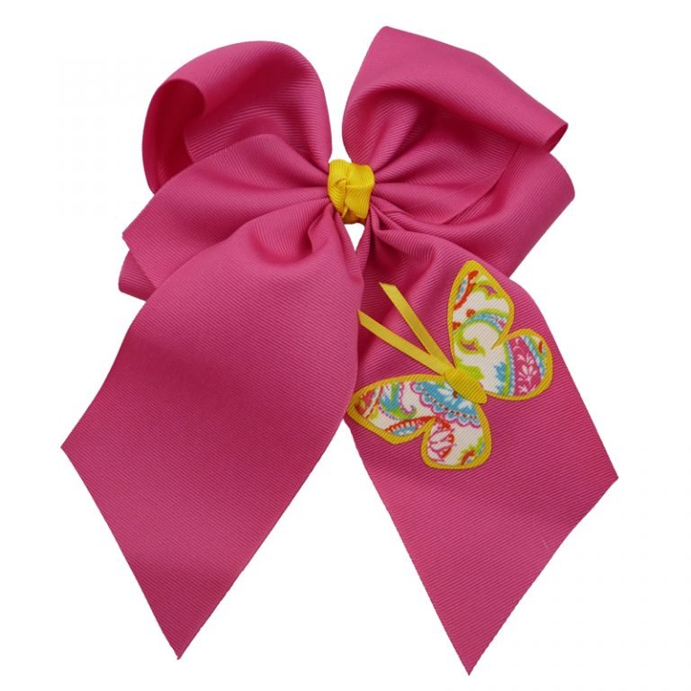 Yellow shocking pink hair bow hairbow spring grosgrain fluff girls child toddler butterfly