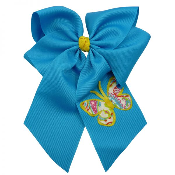Yellow turquoise hair bow hairbow spring grosgrain fluff girls child toddler butterfly