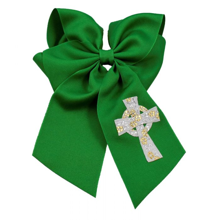 Emerald green gold white celtic cross hairbow hair bow fluff grosgrain toddler girls child spring