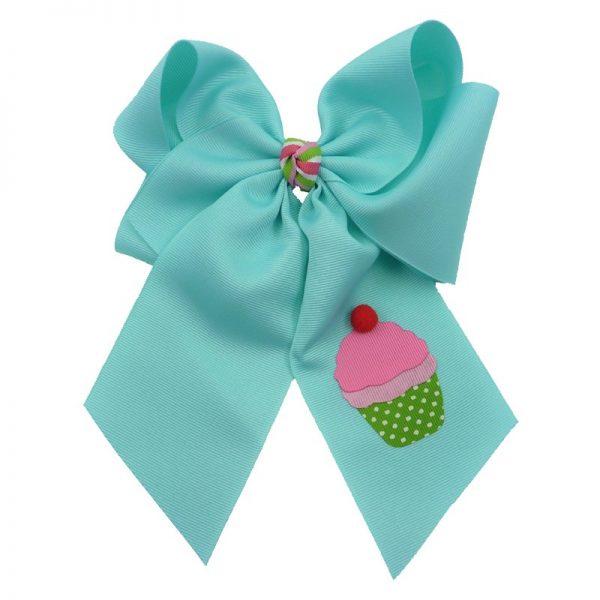 cupcake, bow, summer, hair bow, hairbow, bows, hair, bow, girls, toddler, child, barrette, grosgrain, stripe, cherry, pink, green, white, pom pom, red, light aqua, aqua