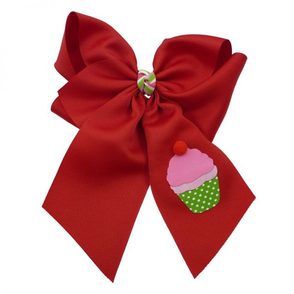 cupcake, bow, summer, hair bow, hairbow, bows, hair, bow, girls, toddler, child, barrette, grosgrain, stripe, cherry, pink, green, white, pom pom, red