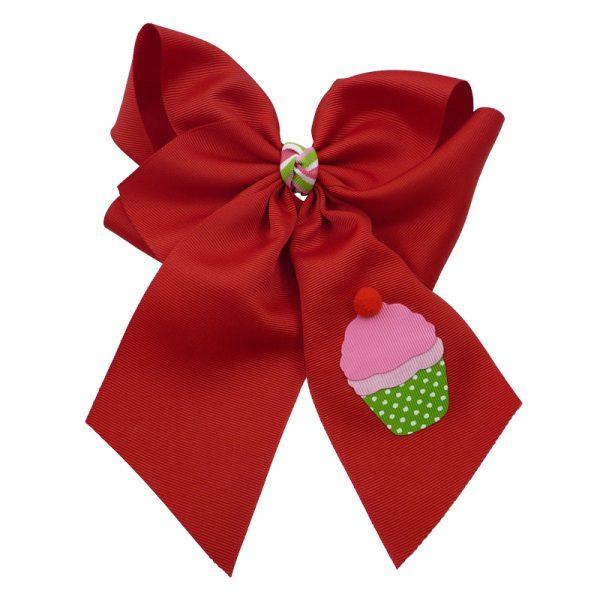 cupcake, bow, summer, hair bow, hairbow, bows, hair, bow, girls, toddler, child, barrette, grosgrain, stripe, cherry, pink, green, white, pom pom, red