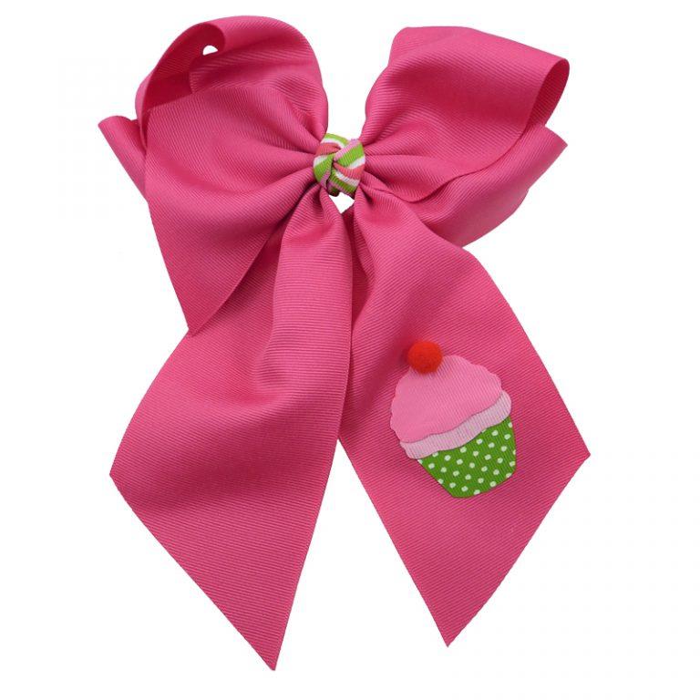 cupcake, bow, summer, hair bow, hairbow, bows, hair, bow, girls, toddler, child, barrette, grosgrain, stripe, cherry, pink, green, white, pom pom, shocking pink