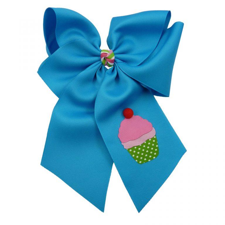cupcake, bow, summer, hair bow, hairbow, bows, hair, bow, girls, toddler, child, barrette, grosgrain, stripe, cherry, pink, green, white, pom pom, turquoise