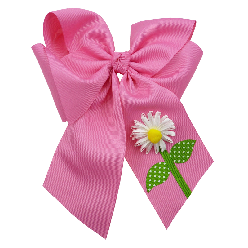 hot pink flower daisy hair bow hairbow spring grosgrain fluff girls child toddler
