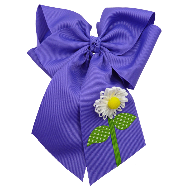 purple flower daisy hair bow hairbow spring grosgrain fluff girls child toddler