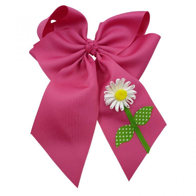 flower daisy hair bow hairbow spring grosgrain fluff girls child toddler shocking pink