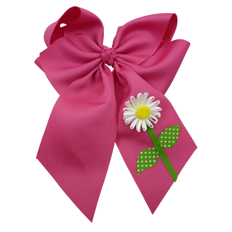 flower daisy hair bow hairbow spring grosgrain fluff girls child toddler shocking pink