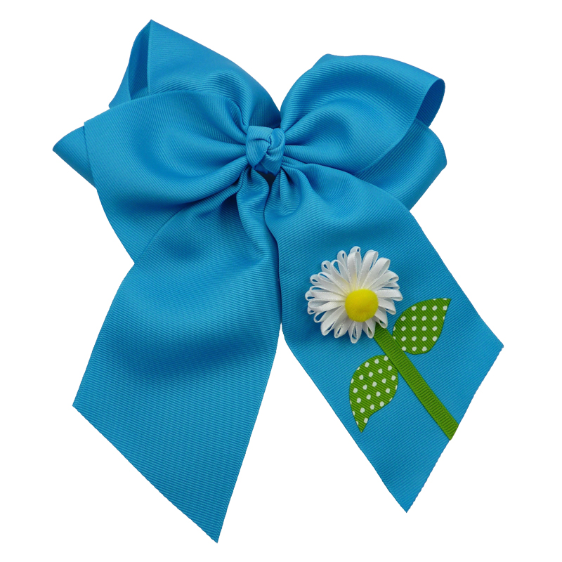 flower daisy hair bow hairbow spring grosgrain fluff girls child toddler turquoise