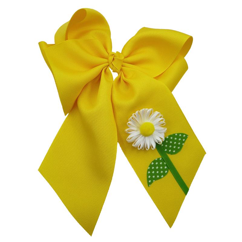flower daisy hair bow hairbow spring grosgrain fluff girls child toddler yellow