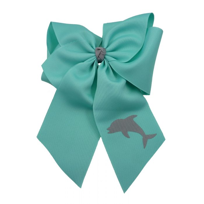 dolphin, bow, summer, hair bow, hairbow, bows, hair, bow, girls, toddler, child, barrette, grosgrain, grey, gray, aqua