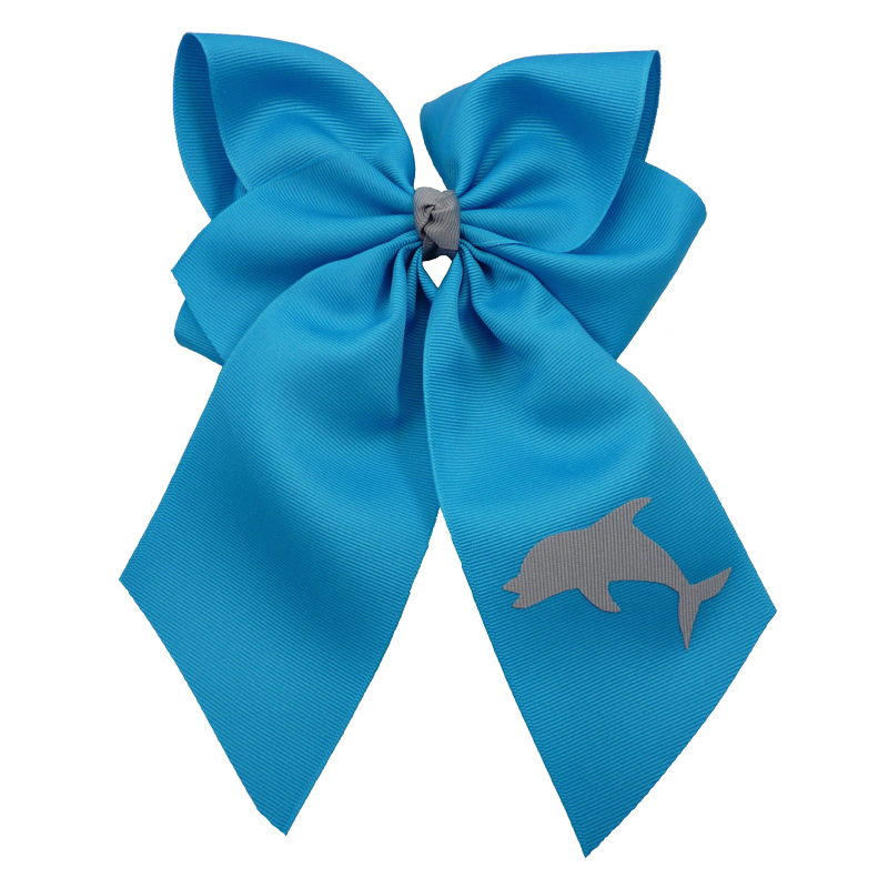 dolphin, bow, summer, hair bow, hairbow, bows, hair, bow, girls, toddler, child, barrette, grosgrain, grey, gray, turquoise, blue