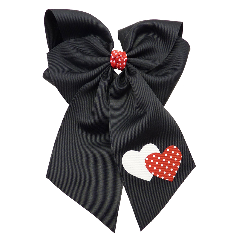 black Red white polka dot heart hairbow hair bow fluff grosgrain toddler girls child valentines