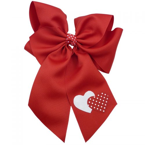 Red white polka dot heart hairbow hair bow fluff grosgrain toddler girls child valentines