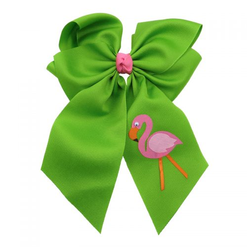 flamingo, bow, summer, hair bow, hairbow, bows, hair, bow, girls, toddler, child, barrette, grosgrain, pink, orange, apple, green