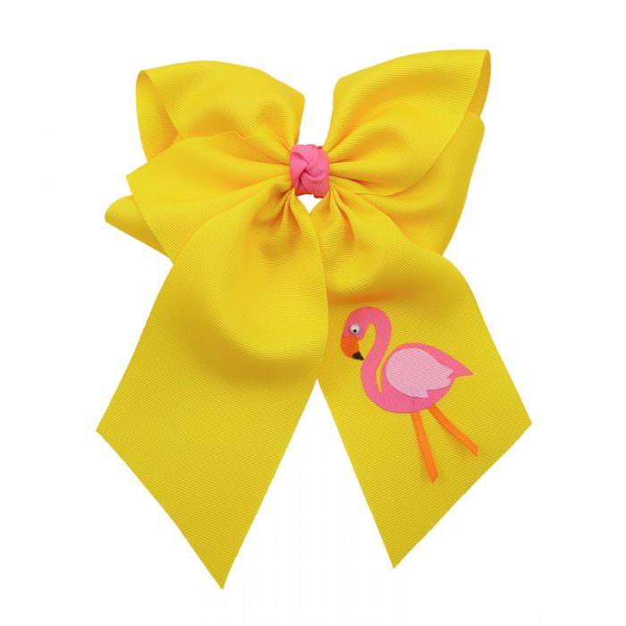 yellow, flamingo, bow, summer, hair bow, hairbow, bows, hair, bow, girls, toddler, child, barrette, grosgrain, pink, orange
