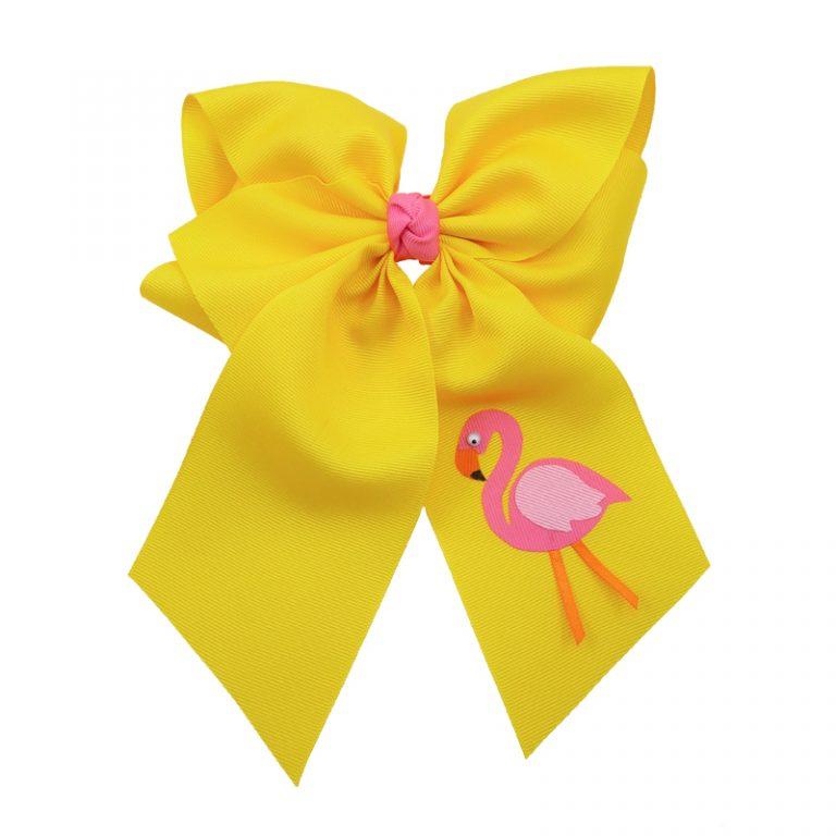 yellow, flamingo, bow, summer, hair bow, hairbow, bows, hair, bow, girls, toddler, child, barrette, grosgrain, pink, orange