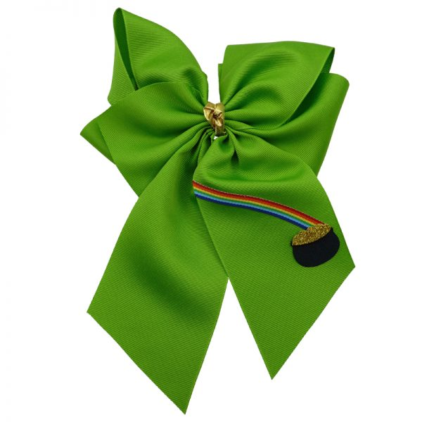 apple green gold rainbow hairbow hair bow fluff grosgrain toddler girls child