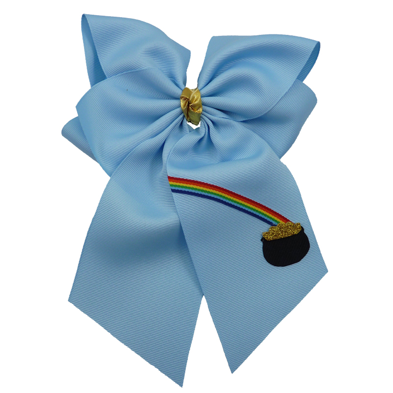 blue gold rainbow hairbow hair bow fluff grosgrain toddler girls child