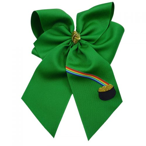 emerald green gold rainbow hairbow hair bow fluff grosgrain toddler girls child emerald
