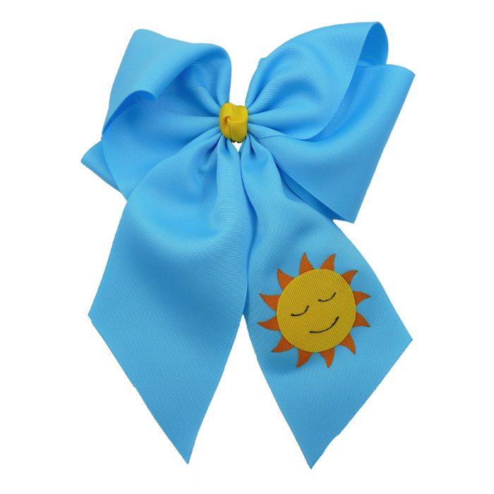 sun, bow, summer, hair bow, hairbow, bows, hair, bow, girls, toddler, child, barrette, grosgrain, yellow, orange, blue